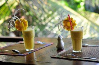 Drinks in the wooden terrace Sambor Village