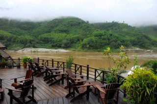 View from the terrace overlooking the Mekong River Sanctuary Pakbeng Lodge