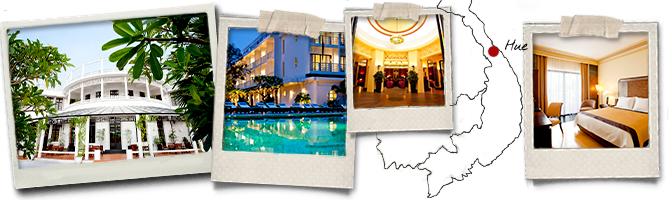 Polaroids et carte La Residence Hue