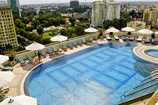 View from the roof over the pool, Sofitel Saigon Plaza
