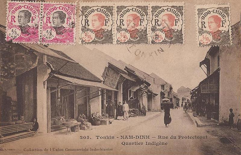 Rue du protectorat, quartier indigène, Tonkin, Nam Dinh