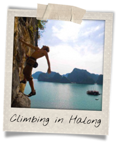 Climbing above the water of the Halong Bay
