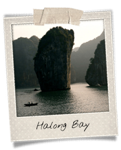 Sugarloaf rock in the Halong Bay