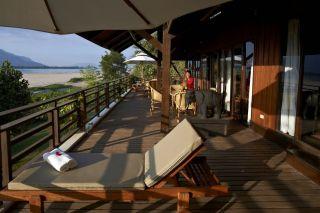 Sunbeds on the balcony at La Folie Lodge