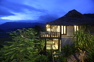 Bungalow view at night